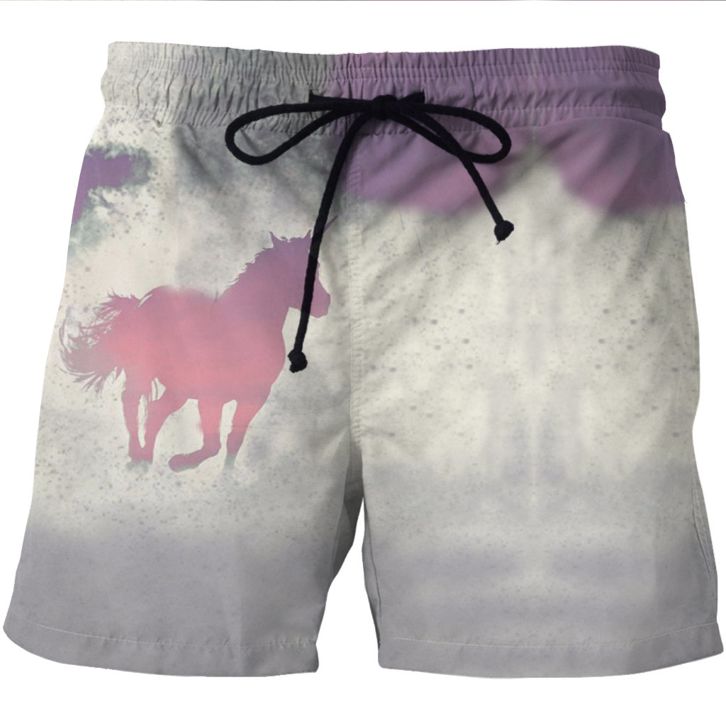 Beach Shorts For Men From Europe And The United States 3D Magic Horse Print Leisure Style Pocket Shorts On Both Sides