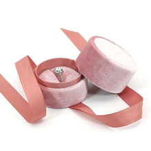 1Pcs Jewelry Box For Wedding Pink Velvet Round Bowknot Engagement Ring Earrings Organirrings Necklace Bracelet Packaging Display