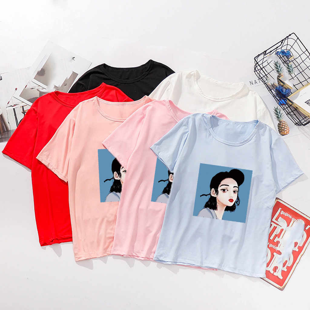 90S fajne ładna dziewczyna druku kobiet T-shirt koszulki harajuku dla kobiet lato Hip Hop O-Neck T Shirt koszulkę Femme modne bluzki