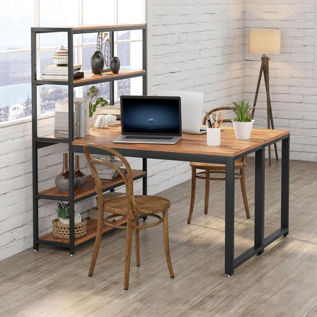 Two Person Computer Desk with Bookshelf 3
