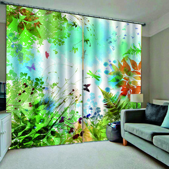 green scenery curtains  Luxury Blackout 3D Window Curtains For Living Room Bedroom Customized size blackout curtains