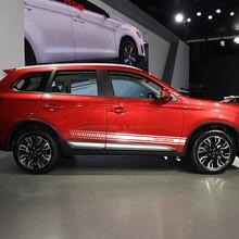 2PCS Car Body Sport ด้านข้างกระโปรงลายสติ๊กเกอร์ตกแต่งสำหรับ Mitsubishi Outlander อัตโนมัติไวนิลสไตล์ปรับ Decals อุปกรณ์เสริม