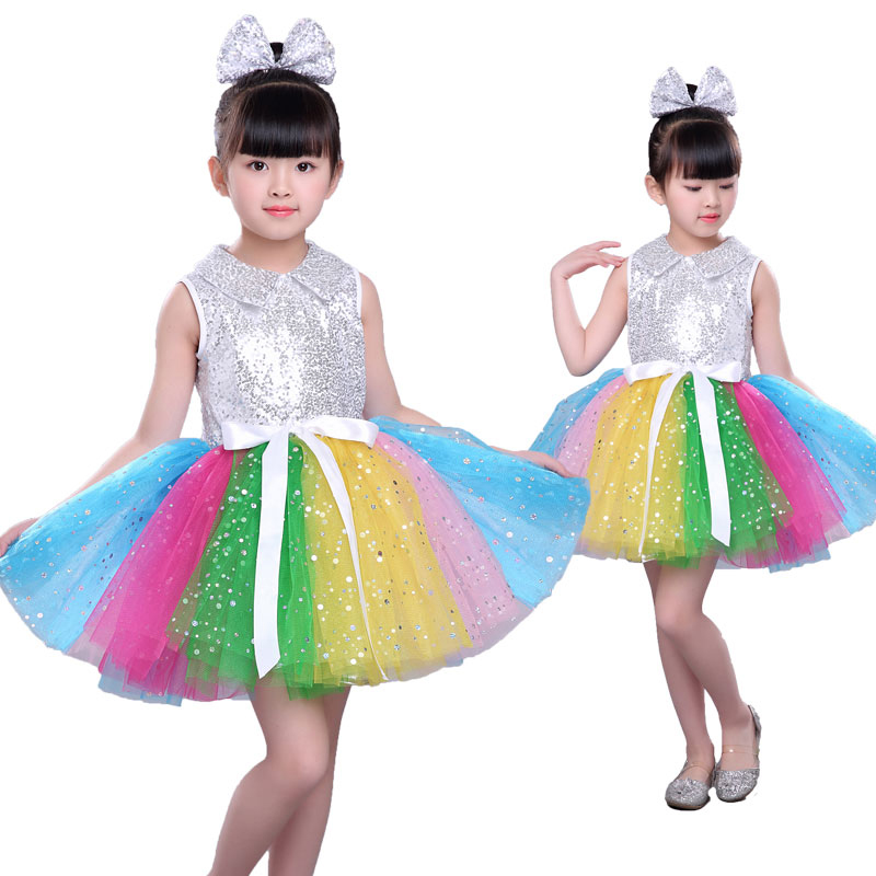 Girl Tutu Modern Dance Costume Children Sequin Jazz Dance Fashion Latin Dancing Dress Stage Show Dresses Jazz Costumes For Girl