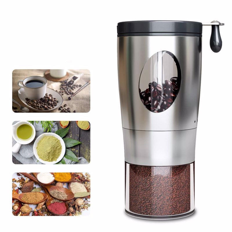 Nuts Seeds Coffee Bean Grind Electron Foldable Handle Stainless Steel Coffee Grinder Portable Hand-cranked Coffee Grinder