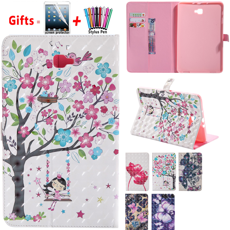 Case For Samsung TabA A6 10.1'' T580 T585 2016 Tablet Case 3d printer Butterfly Rose Card Slot PU Leather Smart Case Stand Cover image