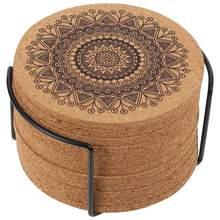 Posavasos de madera con diseño de Mandala redondo, juego de 12 Uds. Creativos de posavasos con estante nórdicos (1 estante y 12 posavasos)