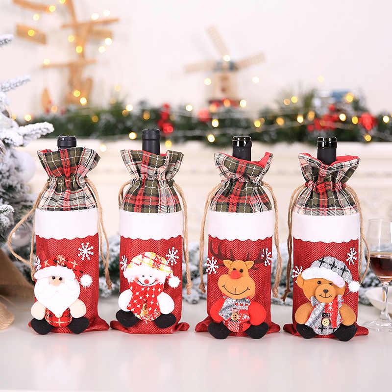 Weihnachten Wein Flasche Abdeckung Weihnachten Dekorationen für Home Santa Claus Stocking Geschenk Halter Weihnachten Neue Jahr 2019 Decor