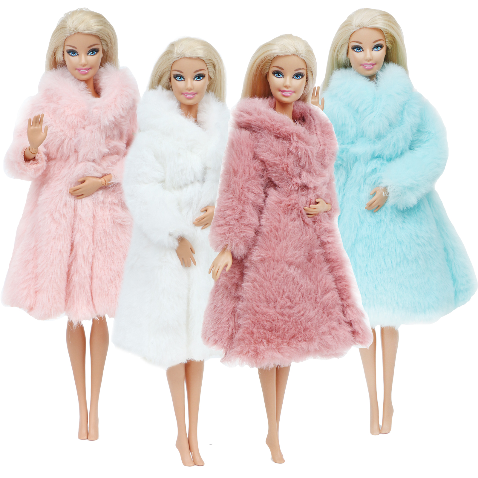 Mix Doll Coat Winter Flannel Coat Furry Robe Dress Clothes For Barbie Doll Toy 12 Inch. Accessories Lot Color Outfit