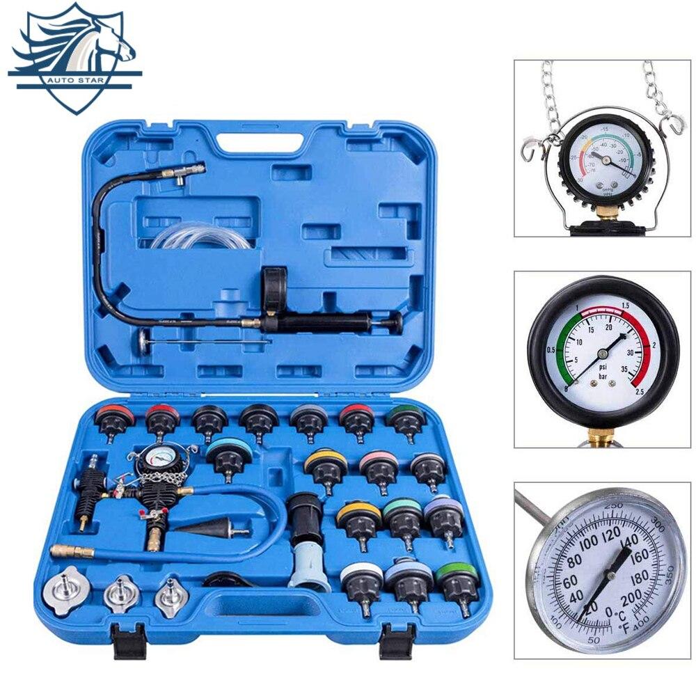 28 pçs ferramenta de reparo especial do carro testador de pressão do radiador vácuo-tipo sistema de refrigeração teste tanque de água detector de detecção de vazamento ferramenta