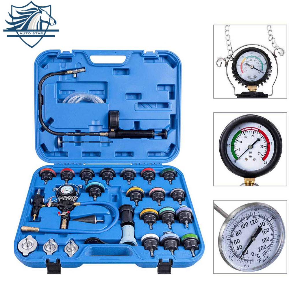 28pcs Car Special Repair Tool Radiator Pressure Tester Vacuum-Type Cooling System Test Water Tank Leak Detection Detector Tool
