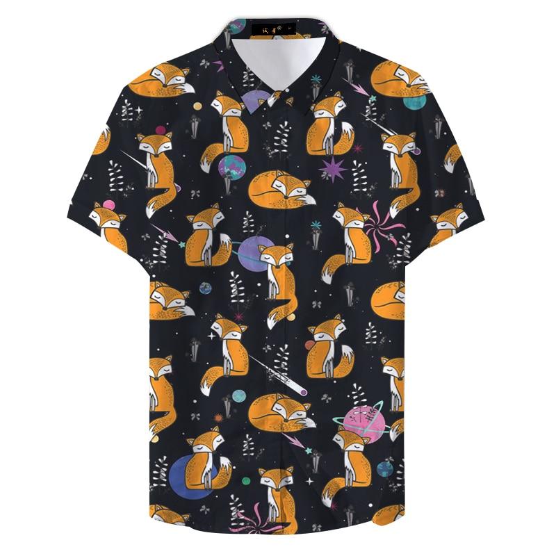 2019 Summer Man Floral Colorful Cute Fox Printed Casual Shirt