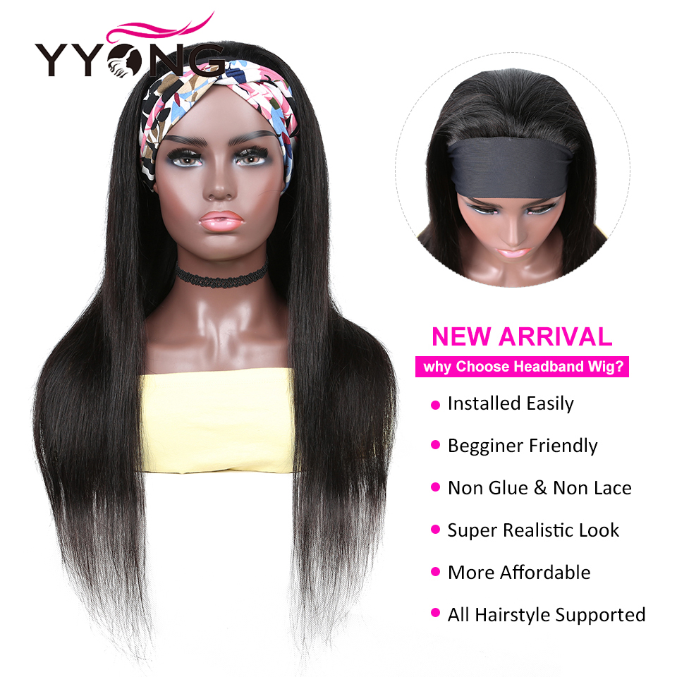 YYong Straight Short Headband Wigs 100%  Wigs With Scarf, 8-24inch Glueless Full Machine Net Head Band  Wig 2