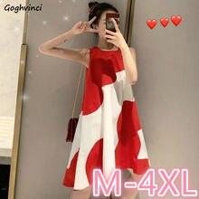 Ulzzang – robe rouge féerique sans manches, imprimée, grande taille 4XL, Hipster, nouveau Style, ample, surdimensionné, mignonne, élégante, pour femmes