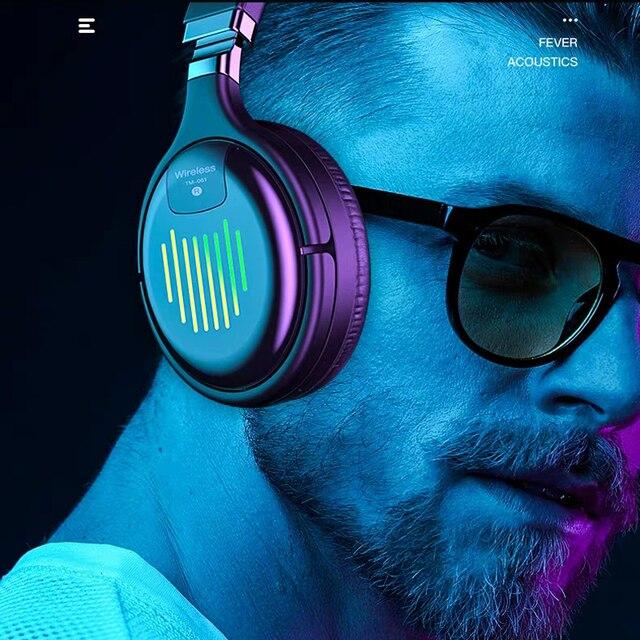 Fones de ouvido sem fio bluetooth com microfone fone de ouvido para jogos bluetooth 5.0 3d estéreo dobrável luz led cartão tf para celular