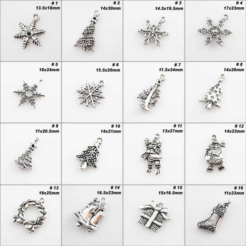 Fashion Tibetan Silver Tone Christmas Tree Snowflake Flower Santa Claus Charms Pendants