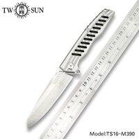 TWOSUN m390 blade folding knife Pocket Knife Survival Knife Camping hunting outdoor tool EDC TC4 Titanium KVT ceramics ball TS16