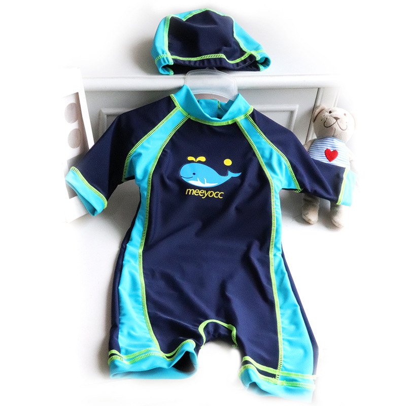 Micro Boy Dark Blue Mixed Colors Small Whale Two-Piece Set Diving Suit Small Children KID'S Swimwear