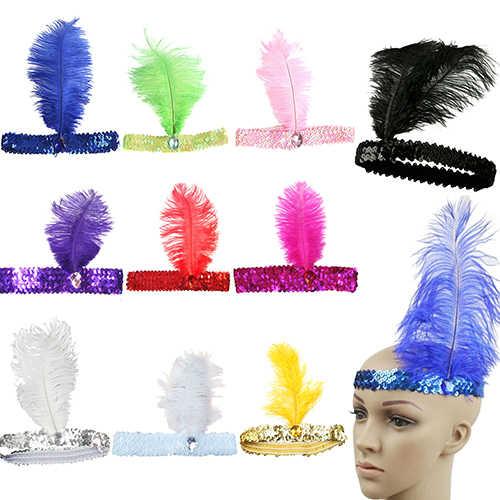Wanita Mengkilap Payet Bulu Burung Unta Ikat Kepala Acara Headpiece Pesta Kostum