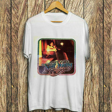 NEIL YOUNG T-SHIRT IRON ON 1970s ERA REAL VINTAGE HEAT TRANSFER FAN CLUB Round Neck Tee Tshirt