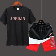 Sportswear Men's T-shirt + Sports Shorts Set jordan-23 high quality tracksuit men T-shirt Sports Running Set 2021 Summer