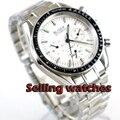 Bliger 40 мм роскошное оборудование мужские часы без логотипа белый циферблат неделя индикатор Даты Многофункциональный стальной ремешок авто...
