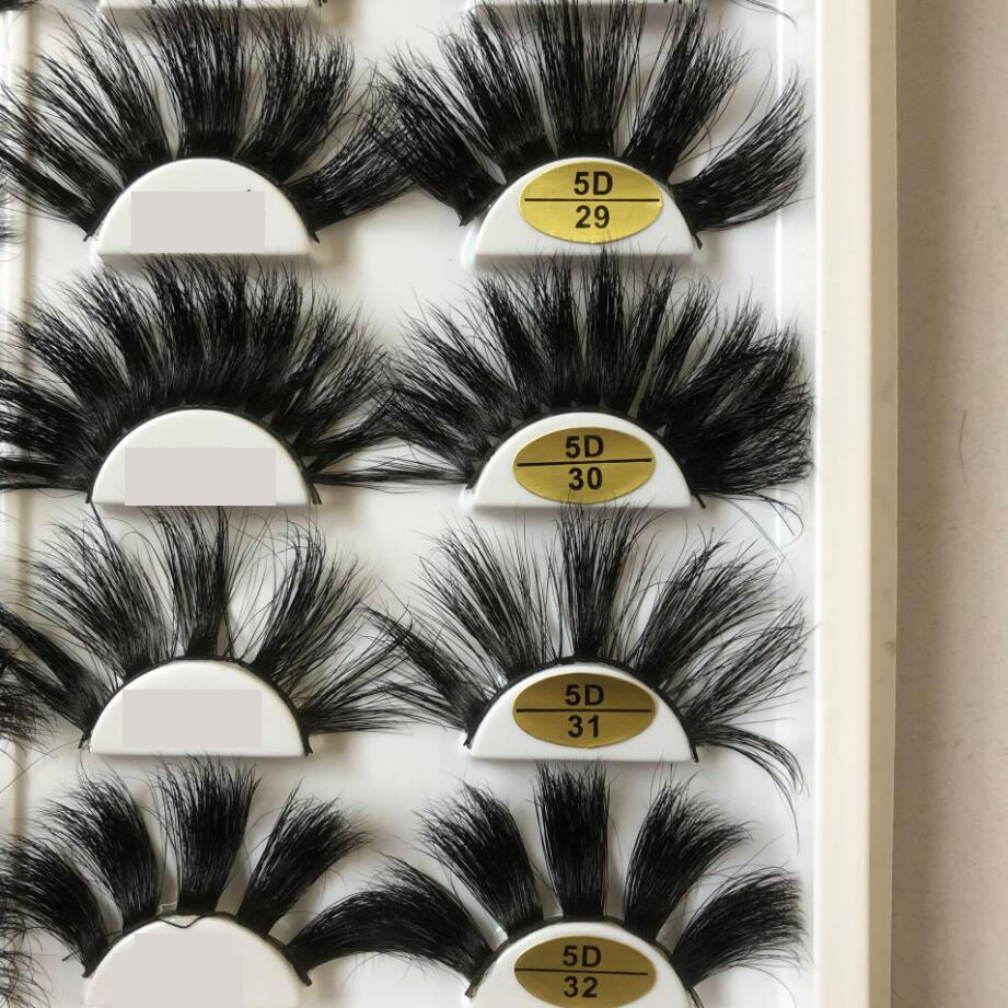 100% Maquiagem Long 25mm Lashes 3D Mink Eyelashes Natural Makeup False Lashes 5D Volume Wispies Fluffy Eyelashes Extension