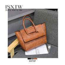 ISXTW 2019 New Womens Bag Europe and America Big Fashion Solid Color Bat Wings Wild Shoulder Portable Retro / D7