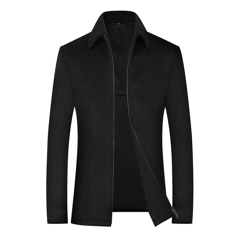 2020 Men's Wool Jacket Coat Male Black Business Casual Coats Brand Clothing Men Woollen Overcoat Father Gift