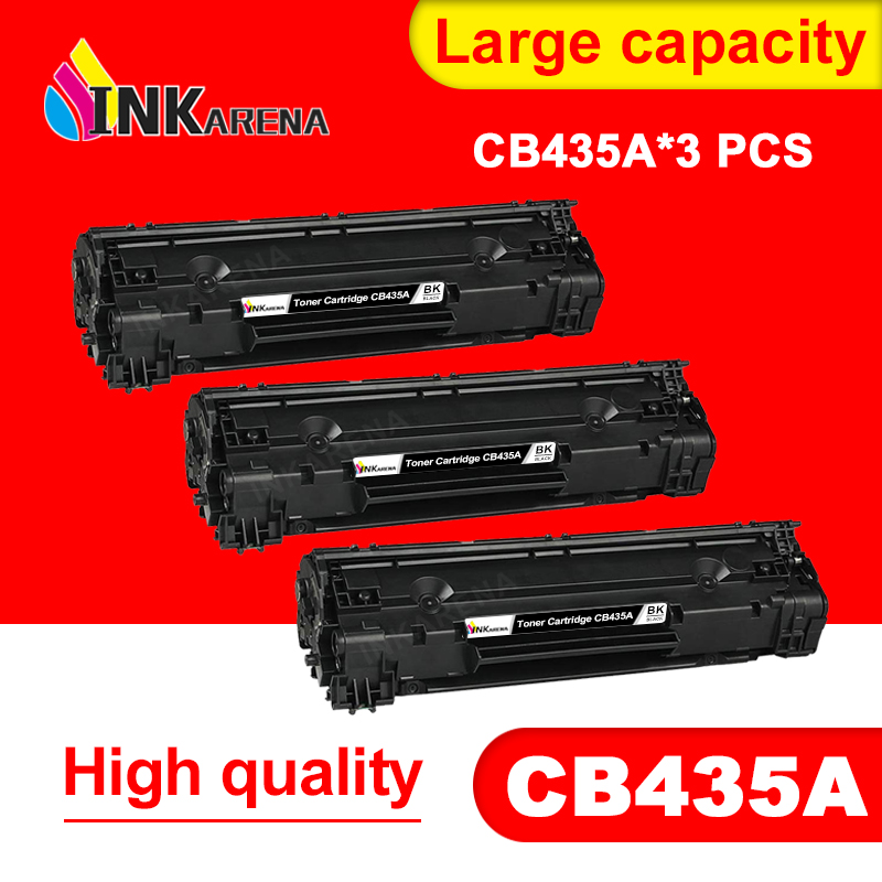 INKARENA 3pcs CB435A 435A 35A <font><b>Toner</b></font> Cartridge For <font><b>HP</b></font> LaserJet P1002 P1003 P1004 P1005 <font><b>P1006</b></font> P1009 Printer Black <font><b>Toner</b></font> Cartridges image