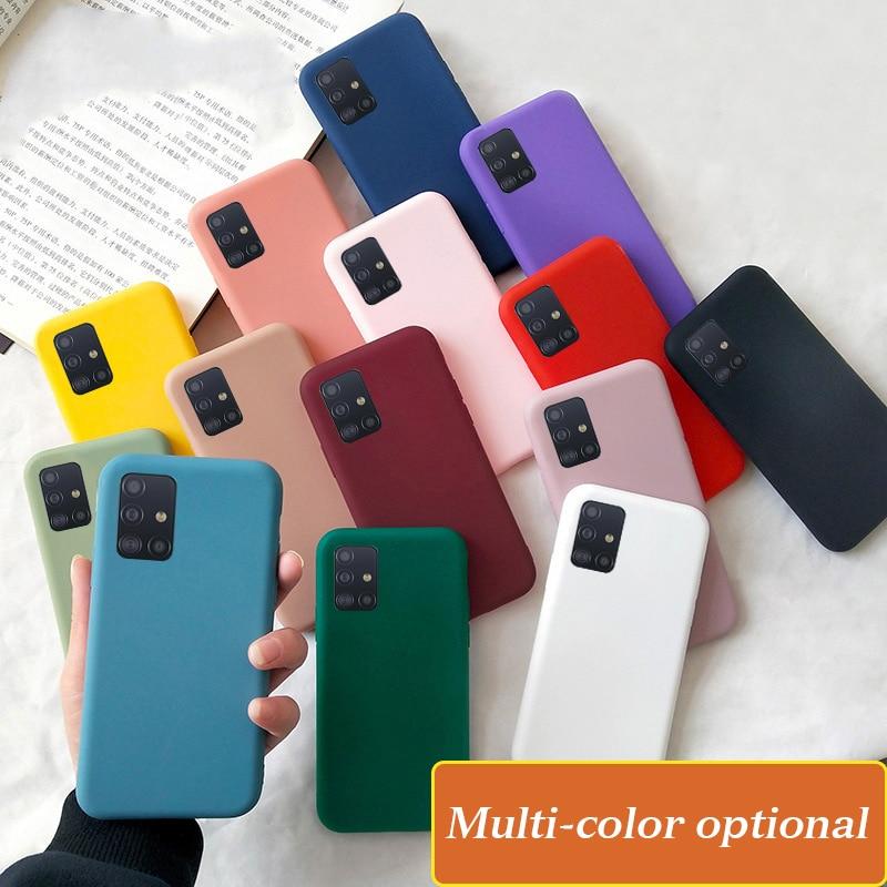Candy Silicone Case For Samsung Galaxy A51 A71 A81 A91 A01 A21 A10 A20 A30 A40 A50 A60 A70 A20e Soft Plain Cover Phone Case