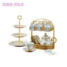 XING KILO European creative aristocratic coffee cup and saucer set ceramic mug coffee cup home flower tea milk tea wedding gift