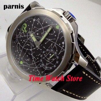 44mm Parnis sapphire glass black constellation luminous 17 jewels mechanical 6498 hand winding movement men's watch men 916