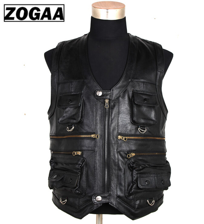 ZOGAA New Men's Waistcoat Genuine Leather Reporters Suit More Than Pocket Quinquagenarian Men Cow Leather Vest Tops