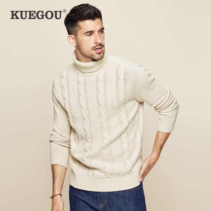 KUEGOU 2019 가을 코튼 카키 터틀넥 스웨터 남성 풀오버 캐주얼 점퍼 남성 브랜드 니트 한국 스타일 의류 19006