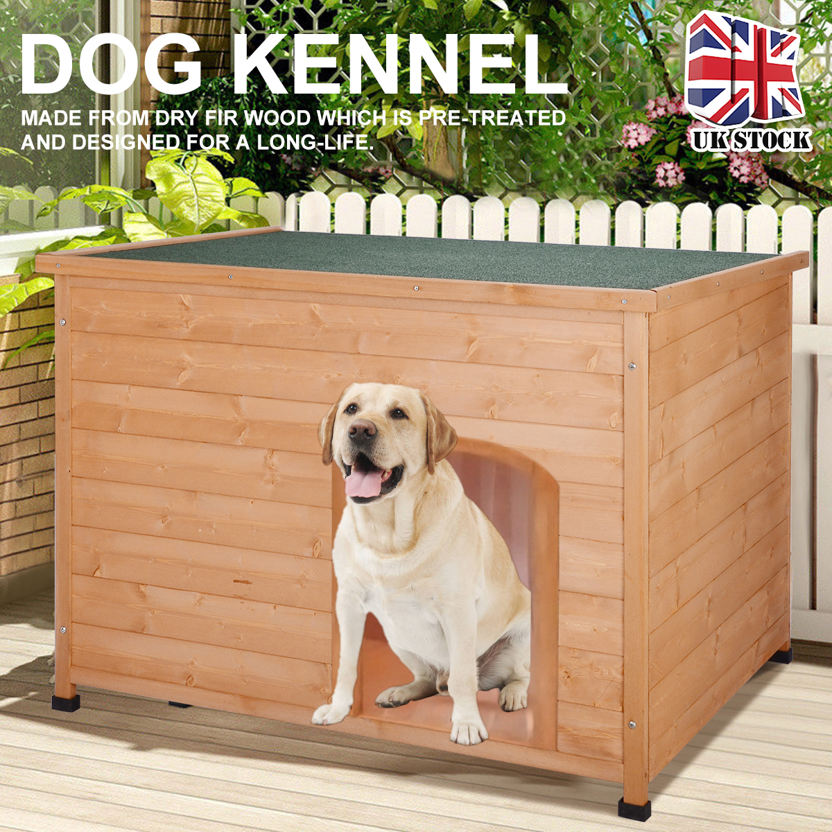 <font><b>Wooden</b></font> Pet <font><b>Dog</b></font> House <font><b>Kennel</b></font> Outdoor & Indoor Bed Wood Home Waterproof Hinged Flat Roof Removable <font><b>Dogs</b></font> <font><b>Kennel</b></font> Big 116*79*81cm image