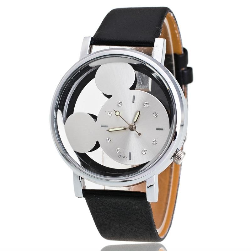 Men's Women's Mickey Mouse Fashion Simple Watch Movement Quartz Disc Watch PU Leather Strap Cute Head Buckle Ladies Write Watchs
