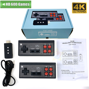 Y2 Plus 4K HDMI Video Game Console Built in 600 Classic Games Mini Retro Console Wireless Controller HDMI Output Dual Players