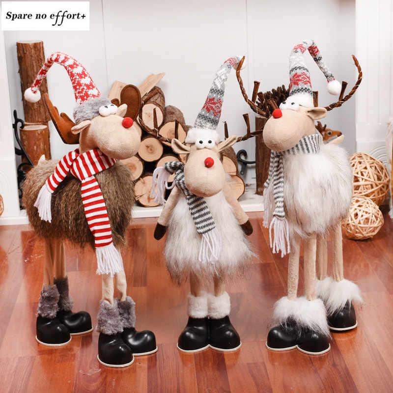 Christmas Standing Plush Reindeer Toys Xmas Elk Home Decor Ornament Kids Gifts