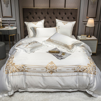 White European Satin Silk Cotton Embroidery Bedding Set Double Duvet Cover Set Bed Linen Fitted Sheet Pillowcases Home Textile