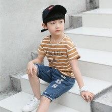 Boys T Shirts 2019 100% Cotton Tops O Neck Collar Striped T Shirt for Boys Summer Brand Kids T-Shirts Clothing Boy