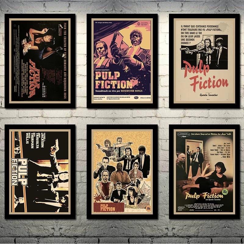 pulp fiction hot movie poster art canvas retro print poster for living room decor bar decoration 003
