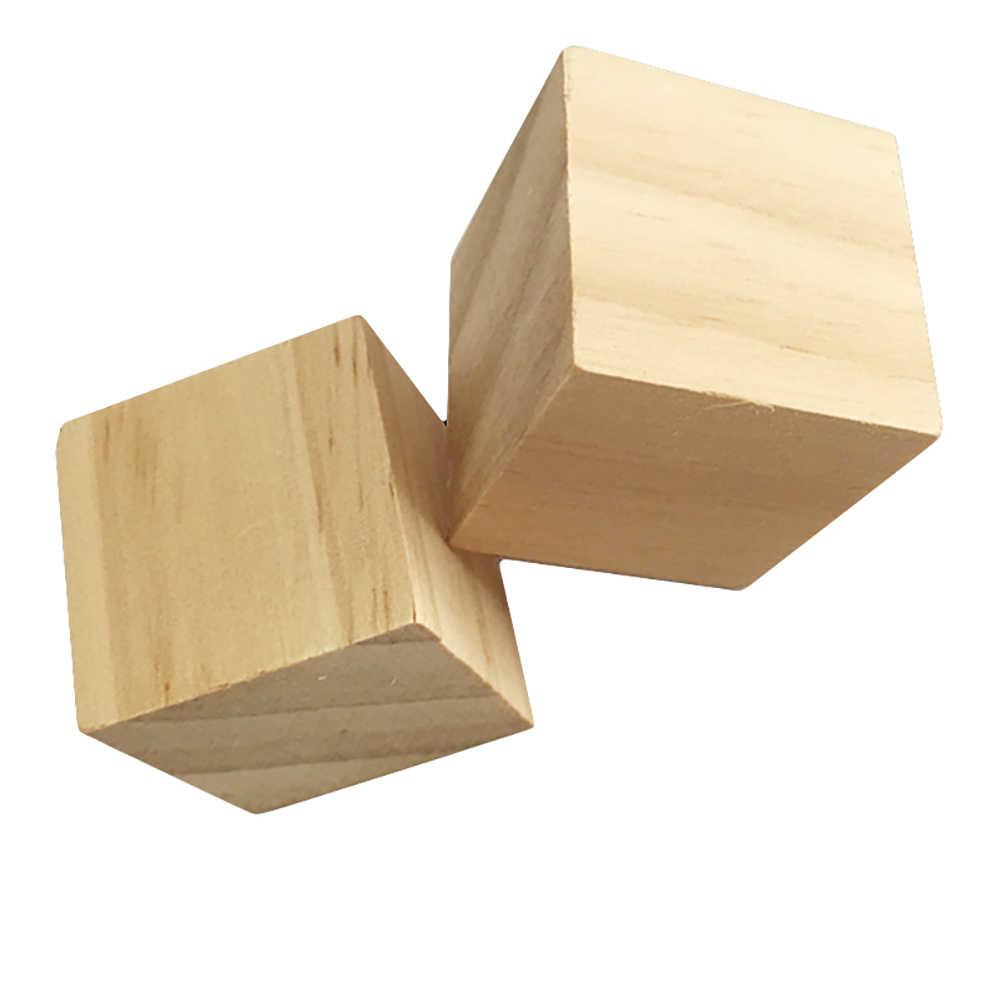 木製ブランク立方ブロックモデル DIY 手の絵の落書き教育キッズおもちゃ開発子供のデザインの才能完璧な誕生日プレゼント