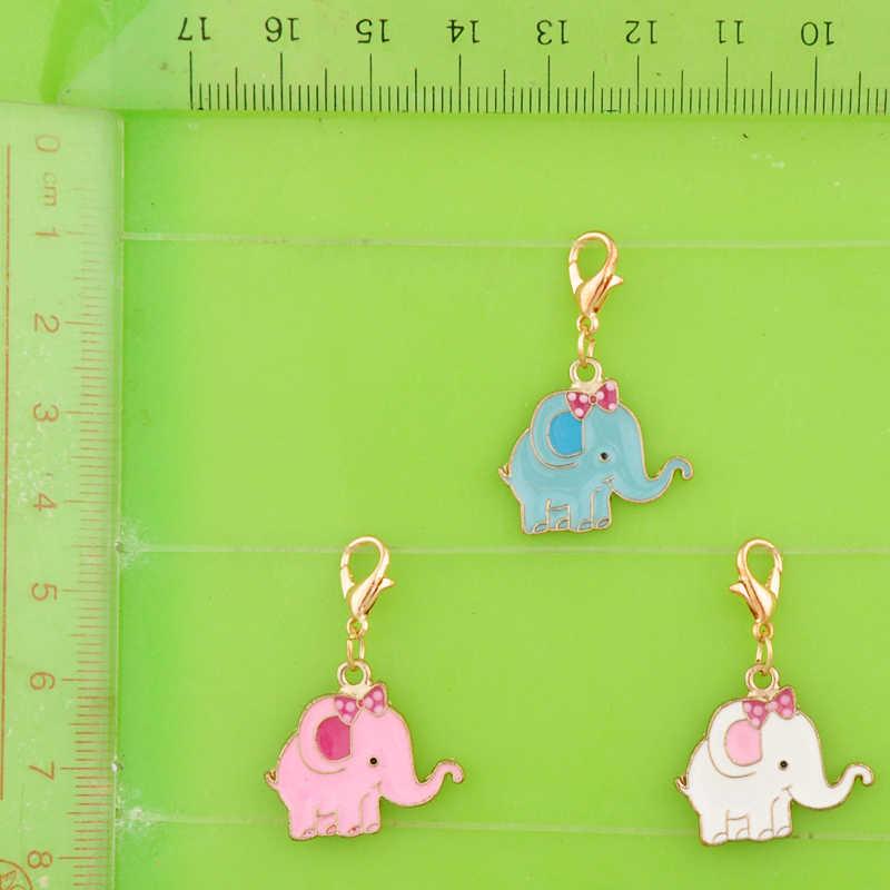 Diy metal balançar esmalte colorido elefante encantos com fecho pingentes para pulseira/colar/brinco jóias fazendo charme bijoux
