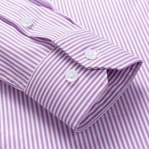 Image 4 - Мужская немнущаяся рубашка, формальная деловая рубашка из 100% хлопка с длинными рукавами и принтом в полоску, Стандартный крой