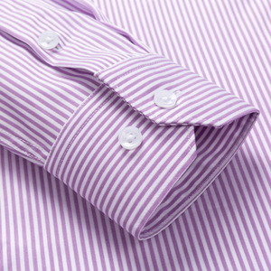 Image 4 - Mens Striped Printed Regular Fit Wrinkle Resistant Dress Shirts 100% Cotton Formal Business Long Sleeve Easy Care Shirt