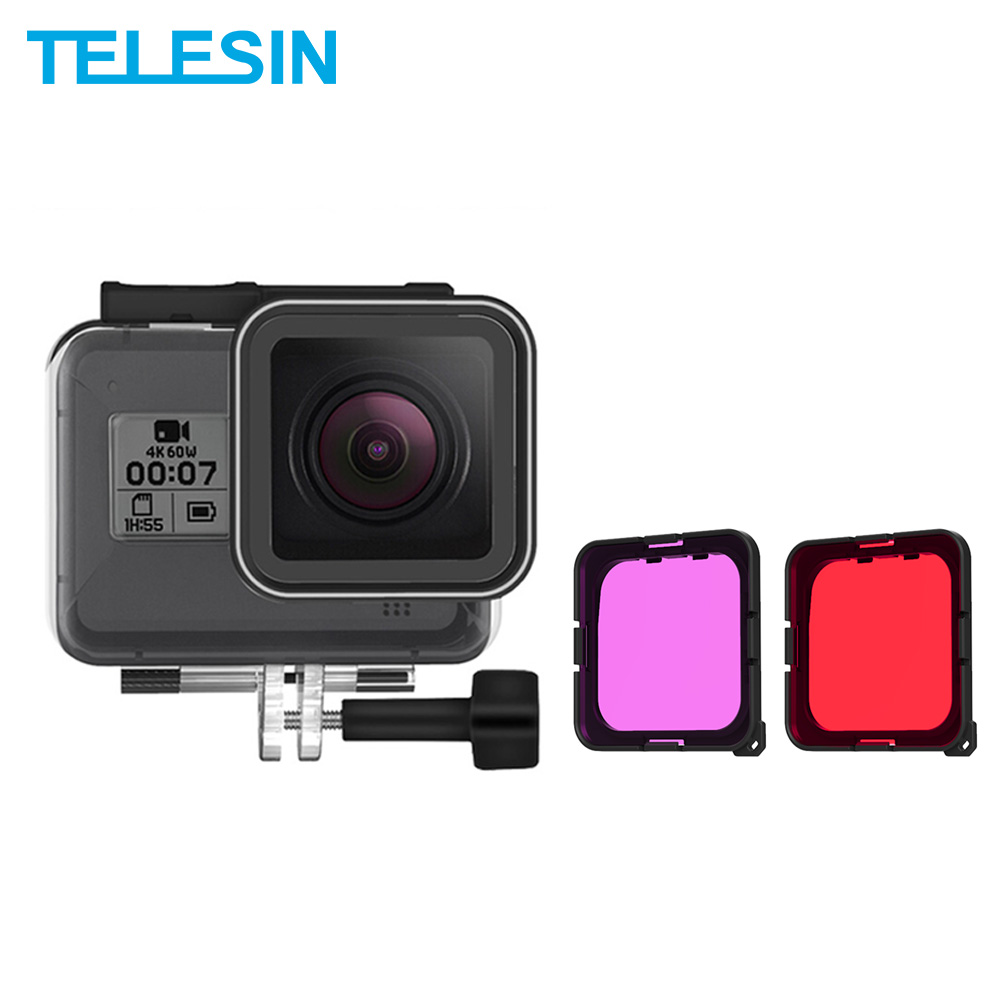 TELESIN 40M Underwater Housing Case + Red Purple Filter Cover For Gopro Hero 8 Tempered Glass Lens Cover Camera Accessories