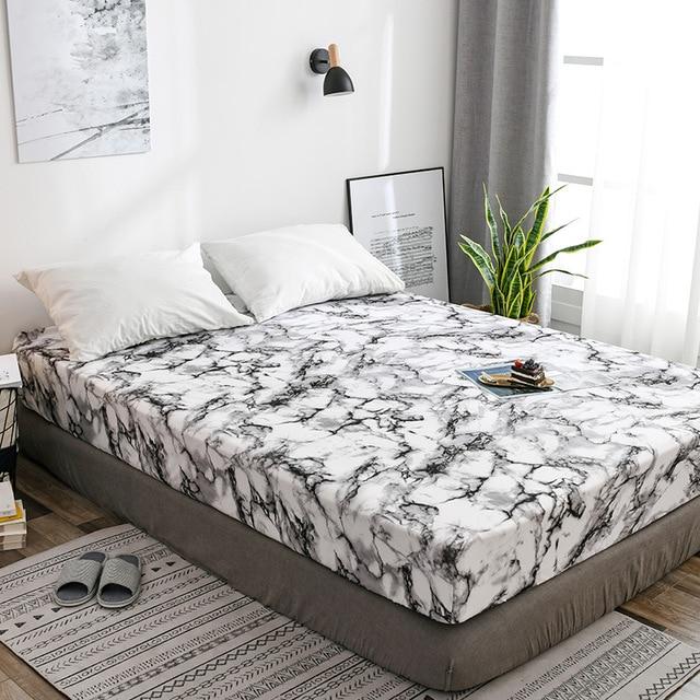 Современный минималистичный в северных европейских стилях натяжная простыня мраморная Удобная текстильная водонепроницаемая защита матр...