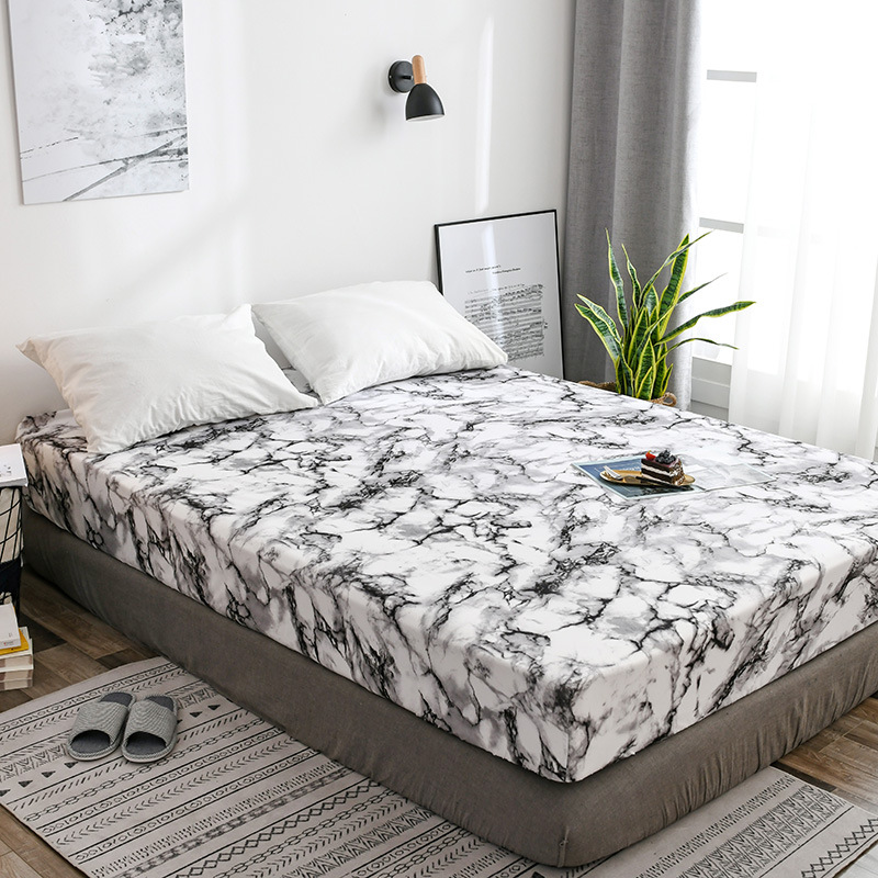 Modern Minimalist Northern European-Style Fitted Bed Sheet Marbling Comfortable Textile Waterproof Mattress Protector