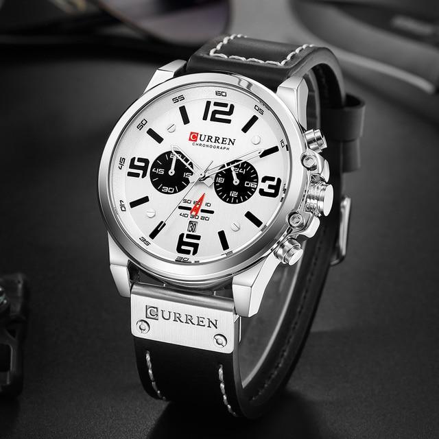 CURREN Luxury Military Waterproof Leather Sport Quartz Watch 6