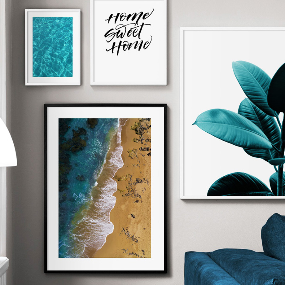 Sea Beach Green Plant Rubber Wall Art Print Canvas Painting Nordic Canvas Poster And Prints Wall Pictures For Living Room Decor in Painting Calligraphy from Home Garden